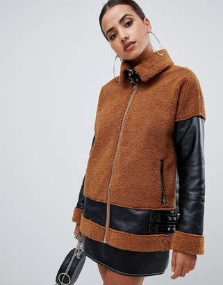 Missguided borg and leather look aviator jacket in brown