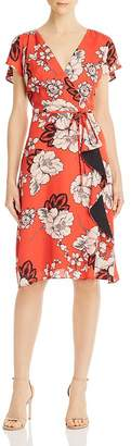 Adrianna Papell Floral Wrap-Style Dress
