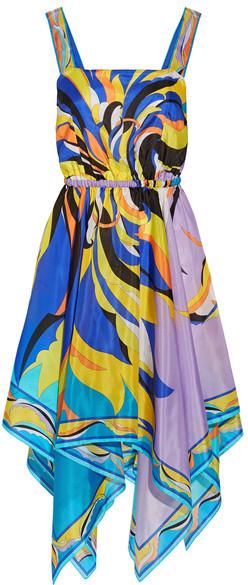Emilio Pucci - Fiore Maya Asymmetric Printed Silk-chiffon Dress - Blue