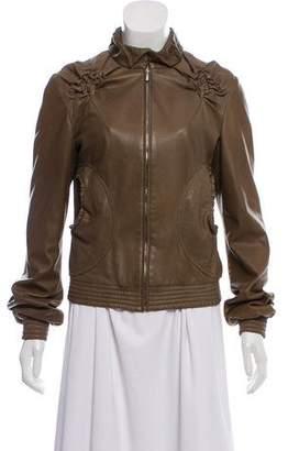 Fendi Ruched Leather Jacket