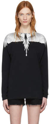 Marcelo Burlon County of Milan Black and White Long Sleeve Double Wing T-Shirt