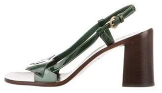 Miu Miu Patent Leather Mid-Heel Sandals green Patent Leather Mid-Heel Sandals