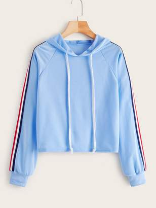Shein Striped Tape Side Raglan Sleeve Hoodie