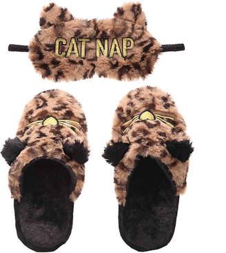 Dearfoams Cat Nap Scuff Slipper & Eye Mask Set - Women's