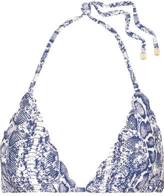 Heidi Klein Kenya Scalloped Snake-print Triangle Bikini Top - Blue