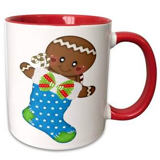 3dRose Cute Blue Polka Dot Christmas Stocking With A Gingerbread Man - Two Tone Red Mug, 11-ounce