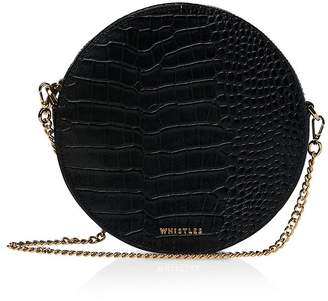 Whistles Brixton Round Croc-Embossed Leather Crossbody