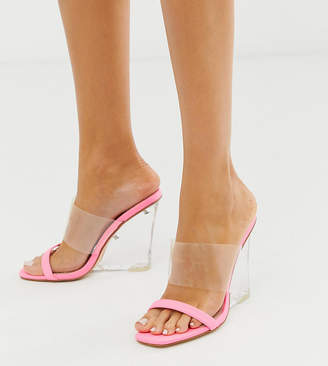 Public Desire Exclusive Amadea bright pink clear wedge sandals