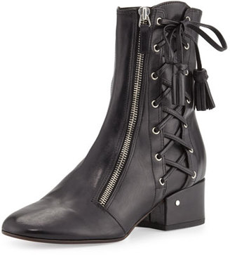Laurence Dacade Marcella Side-Lace Leather Boot, Black $1,400 thestylecure.com