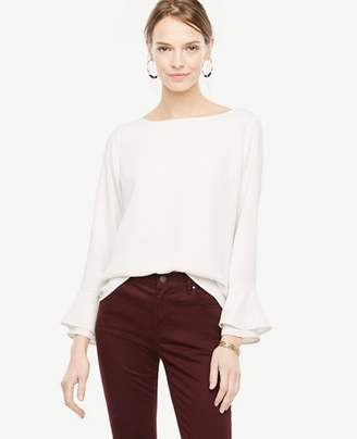 Ann Taylor Petite Boatneck Flare Cuff Blouse