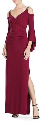 Ralph Lauren Embellished Cold-Shoulder Gown