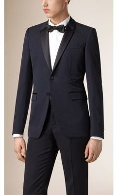 Burberry Satin Lapel Virgin Wool Tuxedo Jacket $1,595 thestylecure.com