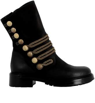 Elena Iachi Black/gold Leather Ankle Boots