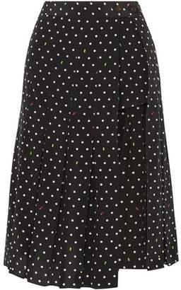 Sandy Liang Uniform Cutout Polk-dot Silk-crepe Skirt