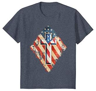 Christian Cross Patriotic American Flag Destroyed Look Shirt