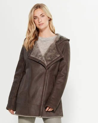 Intuition Paris Taupe Real Fur-Lined Leather Coat