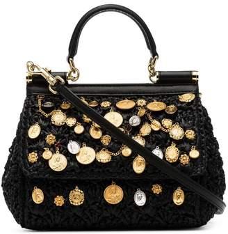 8723f07e13de Dolce   Gabbana black Sicily charm-embellished raffia shoulder bag