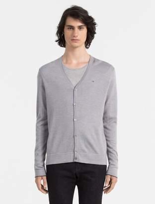 Calvin Klein slim fit merino wool logo cardigan