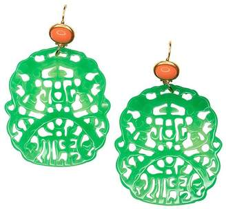 Kenneth Jay Lane Carved Jade Earring
