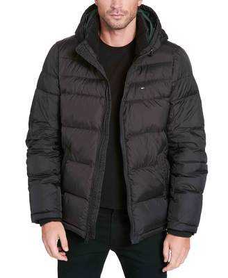 Tommy Hilfiger Men's Tall Big Insulated Midlength Quilted Puffer Jacket with Fixed Hood