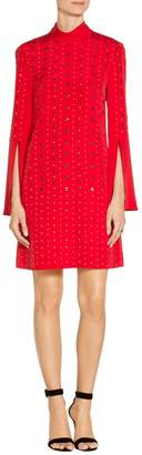 St. John Sequin Stretch Silk CDC Mock Neck Dress