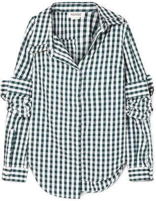 Monse Asymmetric Gingham Cotton-poplin Shirt - Green