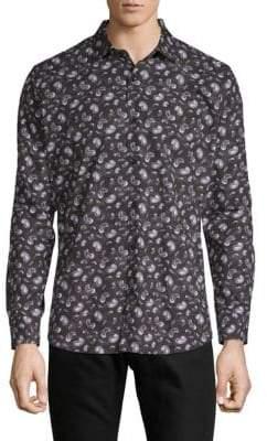 Jared Lang Paisley-Print Cotton Button-Down Shirt