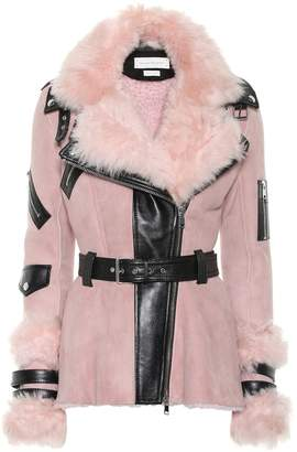 Alexander McQueen Leather-trimmed shearling jacket