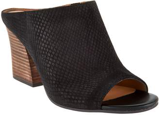 Franco Sarto Snake Textured Suede Peep-toe Mules - Firefly