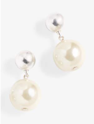 J.Crew Faux Pearl Drop Earrings, Silver/White