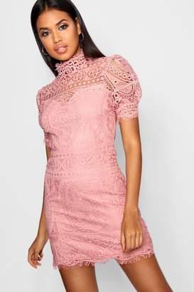 boohoo Lace Puff Sleeve Bodycon Dress