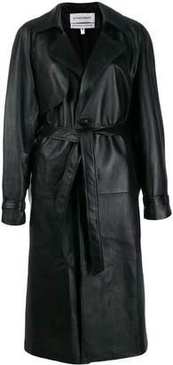 Situationist leather midi coat