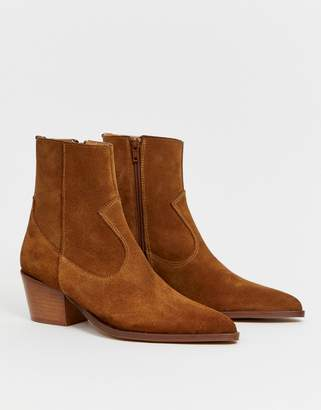Depp tan suede western boots with stacked heel