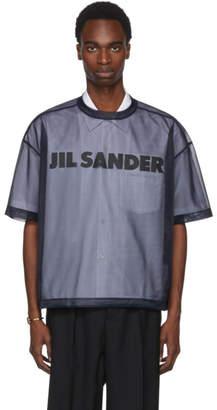 Jil Sander Navy Mesh Logo T-Shirt