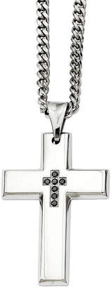 Black Diamond FINE JEWELRY Mens Color Enhanced Accent Stainless Steel Cross Pendant