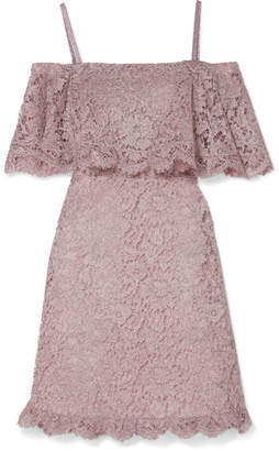 Valentino Cold-shoulder Corded Lace Mini Dress - Lilac