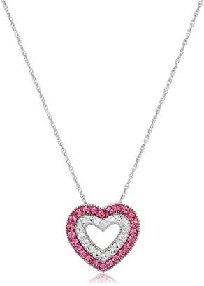 clear Sterling Silver Rose Crystal and Crystal Heart Pendant Necklace