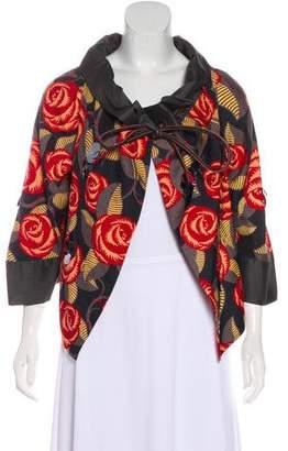Rozae Nichols Floral Printed Embellished Jacket