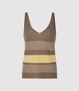 e32e43c333a1cc Reiss Maria - Metallic Striped Knitted Top in Brown