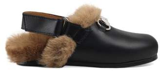 Gucci Toddler Horsebit leather slipper with faux fur