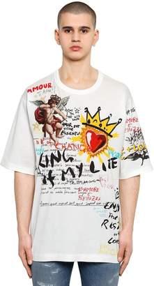 Dolce & Gabbana Oversize Mural Printed Cotton T-Shirt