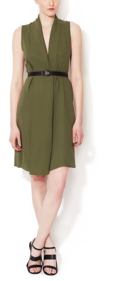 Derek Lam Silk V-Neck Dress with Belt