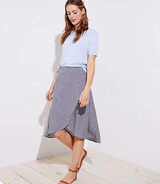 LOFT Gingham A-Line Wrap Skirt