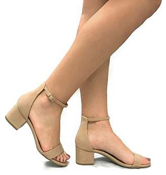 d1874f19513 City Classified Women s Block Open Toe Ankle Strap Heeled Sandals 7.5