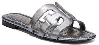 Sam Edelman Bay Pewter Polished Leather Slides