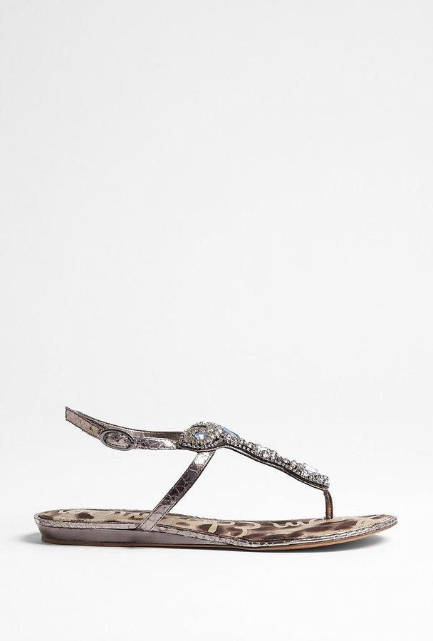 Sam Edelman Embellished Pewter Flat Ross Sandal