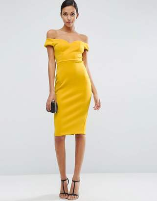 ASOS Off The Shoulder Bardot Midi Sweetheart Dress $58 thestylecure.com