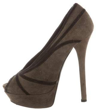 Fendi Suede Peep-Toe Platforms