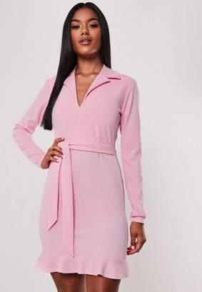 Missguided Pink Frill Stretch Tie Waist Blazer Mini Dress