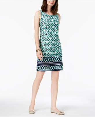 Charter Club Sleeveless Border-Print Dress, Created for Macy's